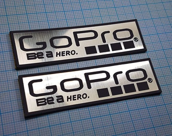 Two (2) x GoPro Metallic - Aluminium Stickers: 70mm x 20mm