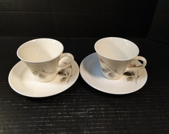 TWO Knowles Dawn Rose Tea Cup Saucer Sets Designed by Kalla 2 EXCELLENT!