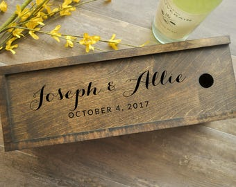 Wine Box, Dark Wood Wine Box, Walnut, Personalized Wine Box, Wedding Wine Box, Ceremony Wine Box, Anniversary Wine Box, Custom Engraved Wine