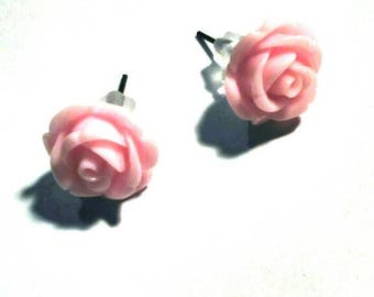 Resin Flower Earrings, pink, vintage style, flowers earring, vintage earring, gift for her, 12 mm diameter approx.