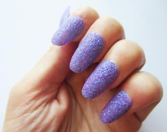 Purple Sugar Effect Texture False Nails, Purple Glitter Fake Press on Nails, Beautiful Bright Nail Art