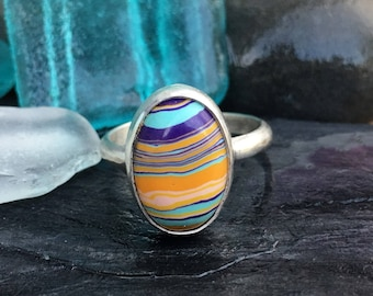 Rainbow Calsilica Ring, Sterling Silver Ring, Size 7 Ring, Mermaid Ring