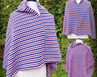 Lightweight Poncho in red white and blue- Poncho in lightweight Knit can be worn three ways - reversible Poncho