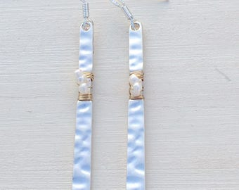 Silver wire wrapped and hammered earrings