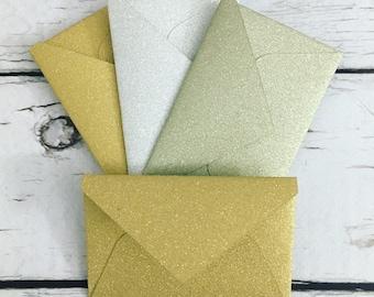 """Teeny tiny itty bitty mini glitter envelopes with tiny note cards 1x1.5"""""""