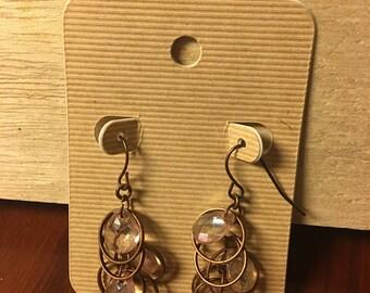 Dangle pink copper earrings