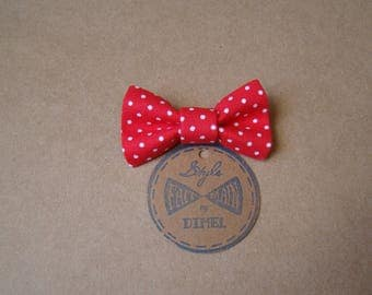 girl woman red polka dot bow hair clip