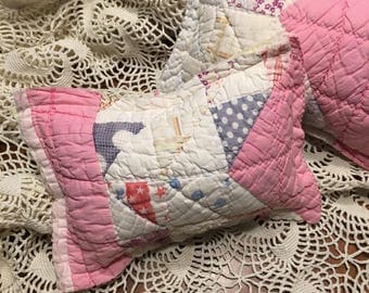 Pink and White Patchwork Quilt Pillow/ Newborn Girl Quilt Posing Pillow/ Pink Posing Pillow