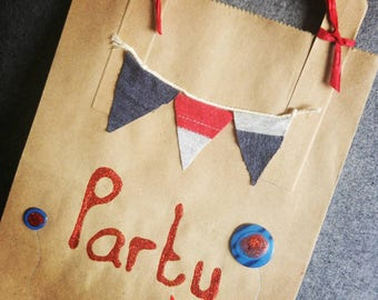 Party bags ' Blue and Red Bunting'. Pack of 12 . Boys or girls. Fun. For party favors. Birthday. Add your own gifts and favors. Unique.