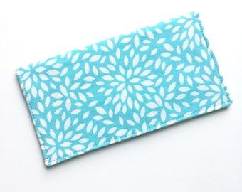 Checkbook cover, checkbook holder, wallet, receipt holder, aqua petals