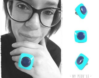 Blue and turquoise Adjustable ring