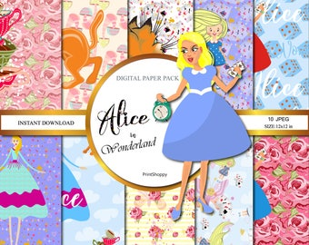 In Wonderland digital paper pack for scrapbooking, Alice in Wonderland paper pack, Alice Digital Paper Pack, Scrapbook, Party Background