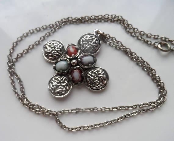 Vintage Silver Tone CELTIC Cross Pendant & Chain Necklace - 24 inch
