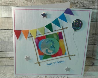 SALE / CLEARANCE / REDUCED / age 3 / 3rd birthday / age Cards / birthday cards