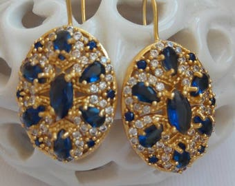 Antique Earrings with blue sapphire stone