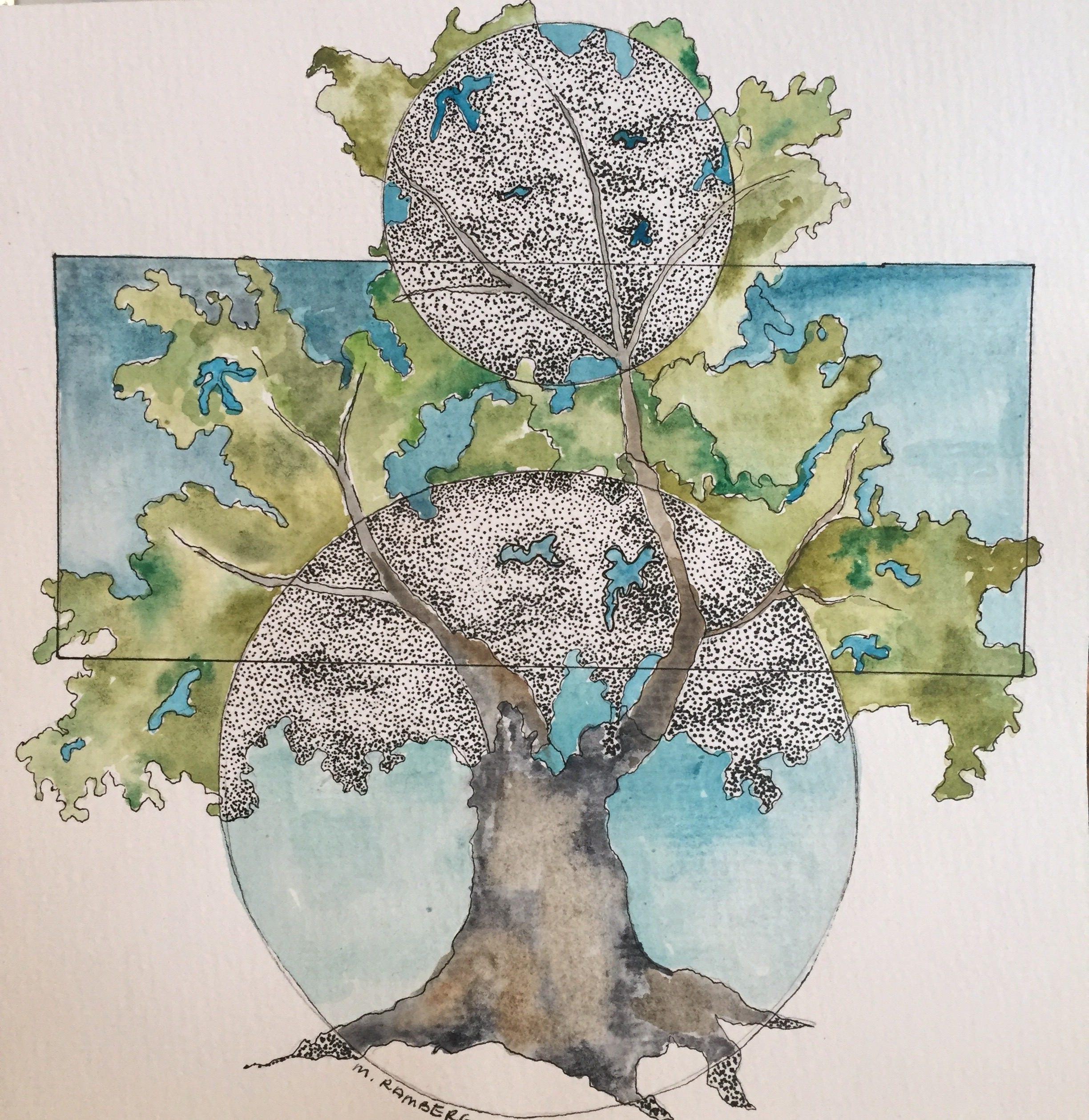 Watercolor & Ink Bonsai Tree