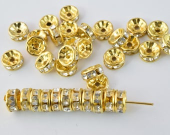 8mm Roundel Gold AB Plated Pave Beads with Clear Rhinestones,Rhinestone Spacers,Scalloped ,Wavy Edge, Basketball Wives