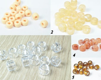 9mm Plastic Pony Beads with smooth surface, Hole size may slightly vary, Wholesale Pony Beads, Vintage plastic beads,