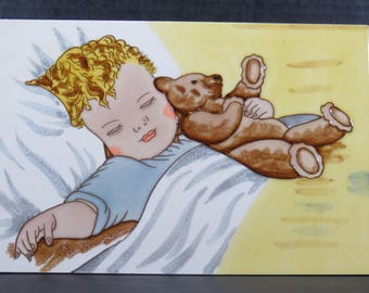 "Bessie Peace Gutmann Art Tile ""Happy Dreams"" 1983 Infant Baby Teddy Bear Wall Hanging Nursery"