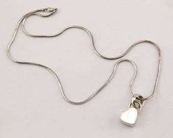 Modern Designer Italy sterling silver heart pendant charm long chain necklace