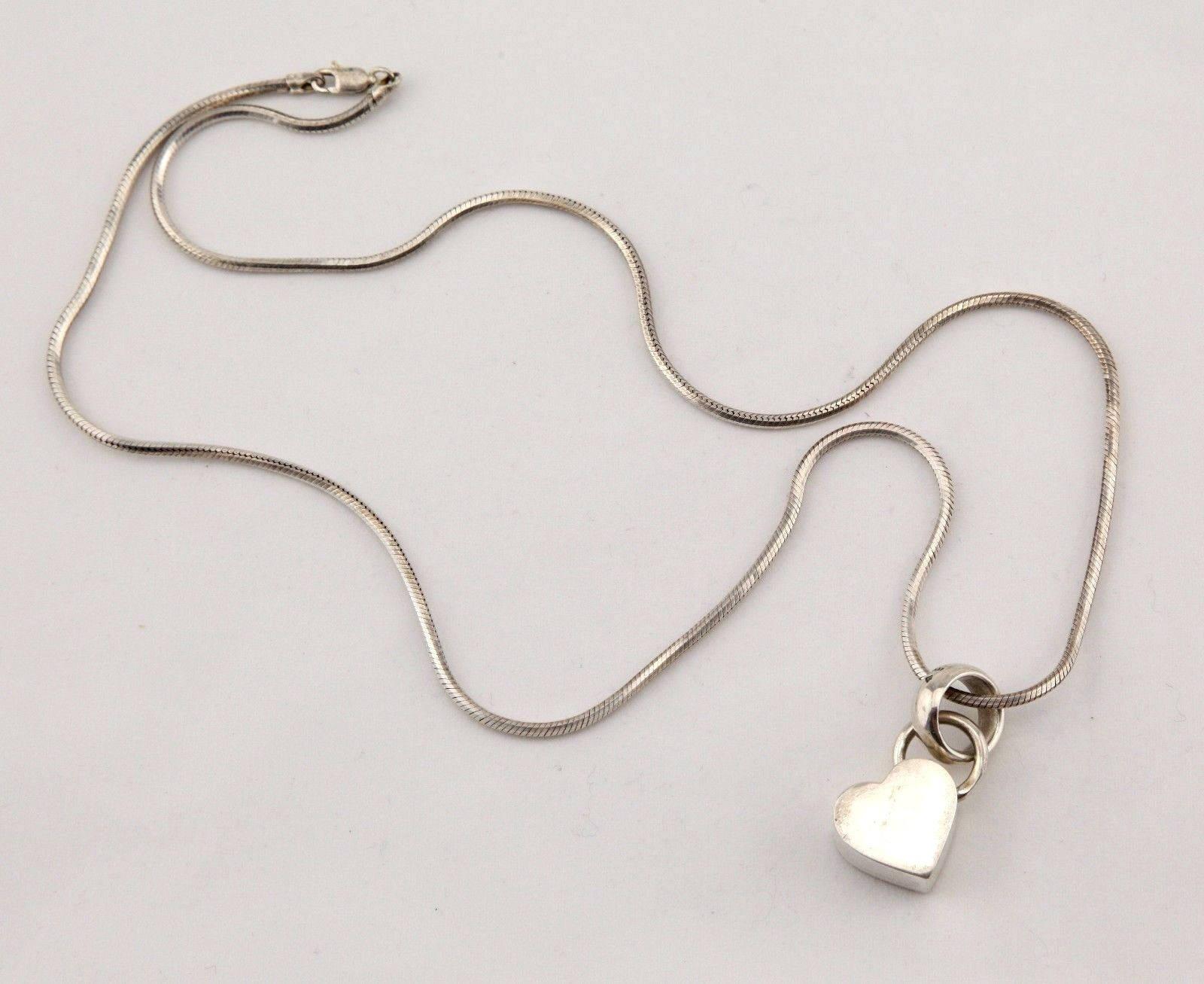 Modern Designer Italy sterling silver heart pendant charm long ...