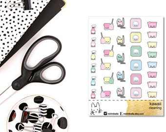 Kawaii Cleaning Sticker II Planner Sticker II