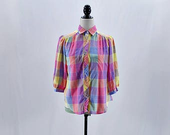 Vintage rainbow plaid puffy sleeves button down shirt // Size S