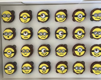 24x Edible Mini Minion cake toppers