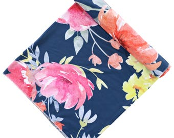 Midnight Navy Floral Oversized Swaddle Blanket | Super Soft Large Swaddle Blanket in our Watercolor dark floral print | Girl Baby Blanket