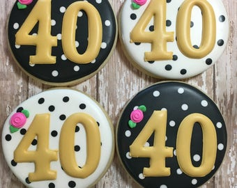 Kate Spake Birthday Party Cookies, 40th Birthday, Party Favors,