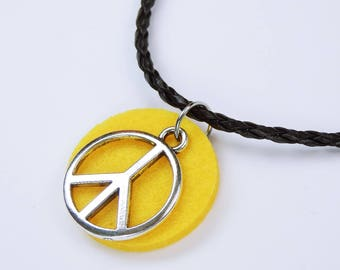 Necklace Peace-peace on yellow background felt on black strap art leather peace sign Yellow pendant peace sign Hippie