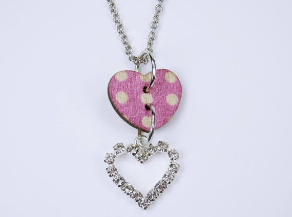 Necklace Heart in pink with white dots and glittering heart on silver-colored link chain made of stainless steel Oktoberfest dirndl Jewelry Pink