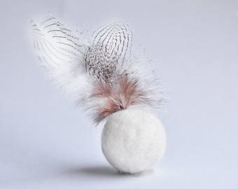 Felted cat ball with feathers White organic wool ball for cat Organic Pet toys