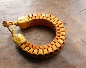 African yellow leather bracelet. hand crafted braided.