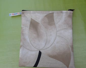 Neutral Black - Top Zip Medium Poppins Waterproof Lined Zip Pouch - Sandwich bag - Eco - Snack Bag - Bikini Bag - Lunch Bag - Make Up Bag