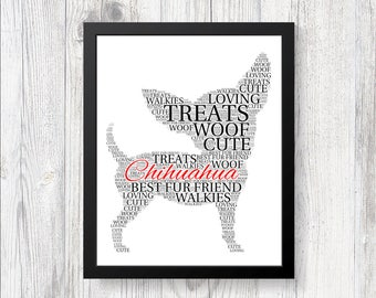 Personalised CHIHUAHUA Word Art Print Gift Keepsake Pedigree All Breeds Available Perfect for Birthdays Christmas Etc CRUFTS