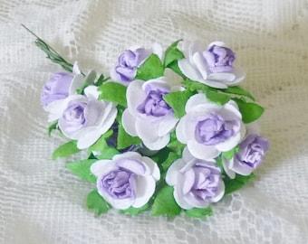 10 Purple white paper 20 mm.Rose Flower paper with wire stem Flower paper Handmade Rosebud
