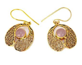 Indian Brass Earrings, Tribal Earrings, Gypsy Earrings, Ethnic Earrings, Bohemian Earrings, Gold Filigree Earrings, Indian Earrings