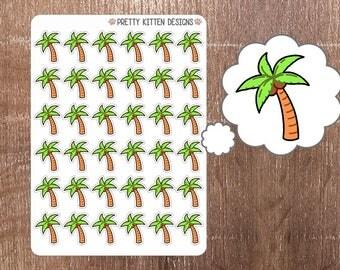 Palm Tree Planner Stickers   36 Stickers   Matte Removable   Erin Condren, Kikki K, Plum Paper Planner
