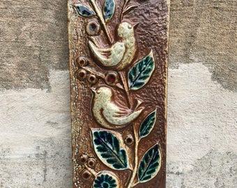 Wall art / Söholm stoneware ceramic plaque relief/ bird leaves / Söholm Stentöj Bornholm / Denmark / 60s
