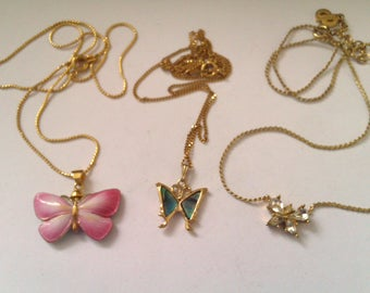 3 vintage butterfly pendant necklaces