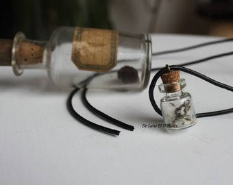 Glass bottle and dandelion necklace