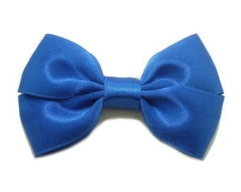 Blue Satin ribbon bow brooch.