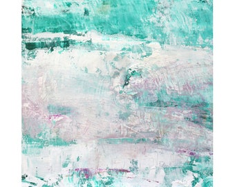 contemporary Turquoise White Beach Decor Original Abstract Oil Painting 12 x 12 square art Dallas artist Paul Ashby