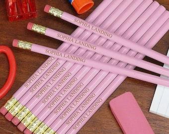 Engraved PINK School Pencils - Custom #2 Pencils - Custom Pencils - Name Pencils - School Supplies - First day of School - Stocking Stuffer