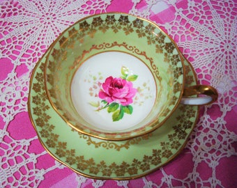Beautiful Vintage Royal Albert Pastel Green AMERICAN BEAUTY Cup & Saucer.