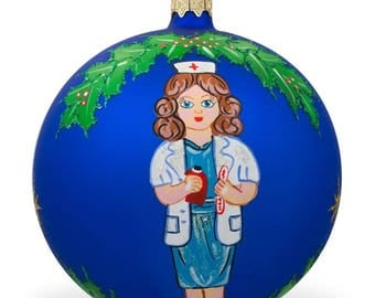 "4"" Nurse or Doctor Glass Ball Christmas Ornament"