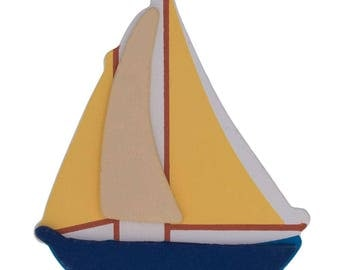"""4.5"""" Wooden Hand Painted Sailboat Cut Out"""