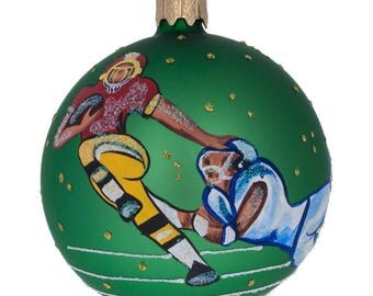 """3.25"""" American Football Glass Ball Christmas Ornament"""