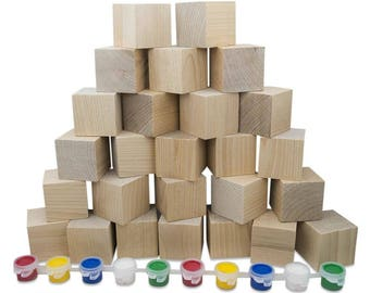 "1.5"" Set of 26 Unpainted Blank Wooden Blocks"